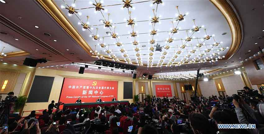 The press center of the 19th National Congress of the Communist Party of China (CPC) holds a press conference on pursuing green development and building beautiful China, in Beijing, capital of China, Oct. 23, 2017. Chinese Minister of Environmental Protection Li Ganjie, and Yang Weimin, deputy director of the Office of the Central Leading Group on Financial and Economic Affairs attended the press conference. (Xinhua/Shen Hong)